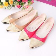 Fashion Women Matal Pointed Toe Shoes Loafers Low Heel Casual Flat Shoes US4-7