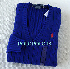 New Ralph Lauren Women V Neck Cable Sweater Pony S M L XL
