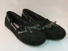 WOMEN SUEDE BLACK MOCCASIN SLIP ON SOFT FUR LINED FLATS ,FREE SHIPPING