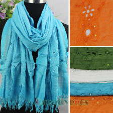 Embroidery Hollow Out Floral Sequins Beads With Fringe Soild Color Long Scarf