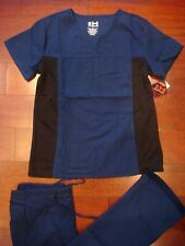 2726 New Medical Uniform Nursing Scrubs Set Navy Blue with Black Panel Spandex