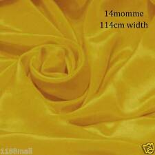 """#12 (lemon curry yellow) Silk Fabric 45"""" wide 14momme Pure Silk Crepe De Chine"""
