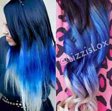 "Black Blue Blonde Ombre Dip Dye Clip In REAL HUMAN HAIR Extensions 20"" FULL SET!"