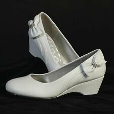 FREE POST Bow Wedge Shoes Flower Girl,Bridesmaids,Communion Wedding, Party 12-3