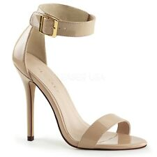 """PLEASER AMU10/CR Sexy Nude 5"""" Stilettos Ankle Buckle Sandals High Heels Shoes"""