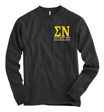 Sigma Nu AMERICAN APPAREL Black Long Sleeve T Shirt Letters NEW