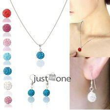 Fashion Women Lady Glitter Rhinestones Pendant Elegant Necklace + Earrings Gift