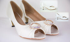 KITTEN HEEL BRIDAL WEDDING PEEP TOE EVENING SATIN SHOES SMALL HEEL  CLAUDIA