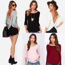 Women Sexy T-Shirt Long Sleeved Ruched Wrap Draped V-back Backless Blouse Top