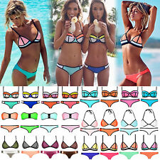 Sexy Women's Neoprene Triangle Bikini Push-up Padded Swimsuit Swimwear Set Suit