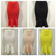 NEW SMART CASUAL SCUBA PENCIL WIGGLE FISHTAIL STRETCH MIDI SKIRT SIZE 8-20