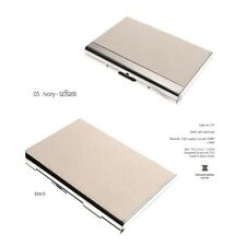 Business Card Holder Personalized Cowhide Briefs Metal Skin Card Case CX7 Ivory