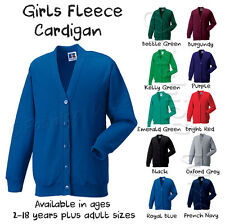 Girls School Cardigan Fleece Sweatshirt Uniform Age 2 3 4 5 6 7 8 9 10 11 12 13