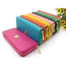 Womens Fashion Clutch Zipper Leather Handbag Lady's Long Wallet Coin Purse New
