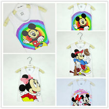 Kids Toddlers Mickey Minnie Mouse Boys Girls Modal Cotton Shirt Top Vest