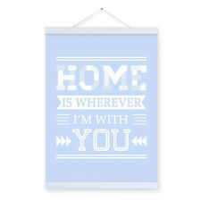 Home Blue A4 Pop Love Poster Bedroom Wall Art Quotes Decor Canvas Painting Gifts