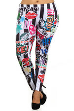 -[PLUS SIZE] Striped Comic/Cartoon Inspired Printed Fashion Leggings (EX1158)