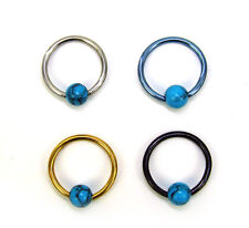 14g 16g Captive Ball Bead Ring Barbell Piercing Teal STONE Gold Steel Ear Septum