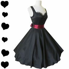 New Black 50s Rockabilly Pinup Full Skirt Swing Party Dress S M L Xl Xxl 1X 2X