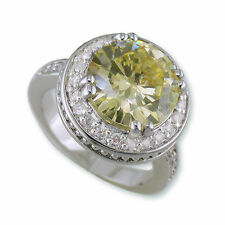 7.5CT Canary & Pave Clear Cubic Zirconia Halo Fancy Wedding Rhodium Ring