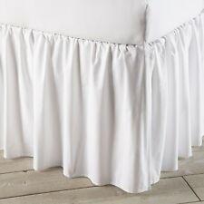 NEW! 100% COTTON DUST RUFFLE BED SKIRT SOLID WHITE 650 TC ALL SIZE DROP LENGTH