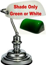 GREEN or WHITE Glass Bankers Lamp Shade Standard Replacement Glass Lampshade