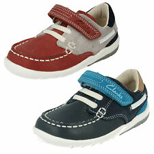 CLARKS INFANTS BOYS RED NAVY LEATHER CASUAL BOAT STYLE FIRST SHOES SOFTLY FLAG