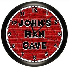 MAN CAVE WALL CLOCK PERSONALIZED GIFT REC ROOM DECOR GUY DAD 10 INCH RED BRICK