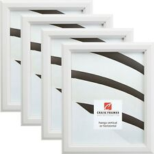 "Craig Frames Tulip Poplar, 1"" Simple White Wood Picture Frame, 4-Piece Set"
