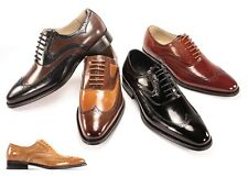 Men's Dress Shoes Giovanni 6503 Leather Wing Tip Lace Up 5 Colors Size 8.5 To 14
