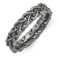 Carved Band Ring .925 Sterling Silver Black Plated Sz 5-10 Stackable Expressions
