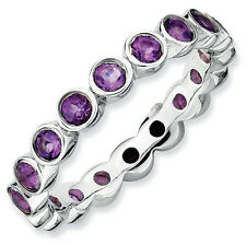Amethyst Eternity Ring .925 Sterling Silver Size 5-10 Stackable Expressions
