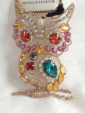 MACKENZIE CHILDS COMPLEMENTS JEWELED OWL ORNAMENT NEW $24 - Choose Red or Blue