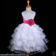 WHITE TIERED ORGANZA FUCHSIA HOT PINK SASH FLOWER GIRL DRESS WEDDING 2 4 6 8 10