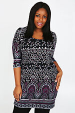 Yoursclothing Plus Size Womens Print Tunic With 3/4 Sleeves