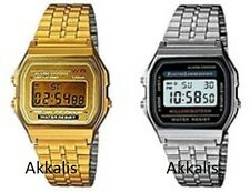 Classic Retro Vintage Style Gold Silver Mens Ladies Digital Metal LCD Watch New