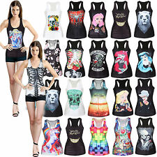 Women Print Tank Tops Vest Blouse Gothic Punk Club Wear Sleeveless Vests Singlet