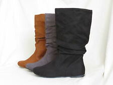 Womens Mid-Calf Slouchy Flat Boots Scrunch Faux-Suede Color/Black Soda Zurich-S