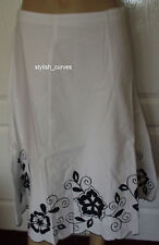 SIZE 10 - 12 KALEIDOSCOPE WHITE / BLACK EMBROIDERY A-LINE COTTON SUMMER SKIRT