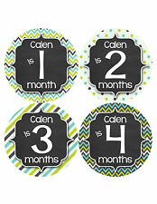 Personalized Baby Boy Monthly Stickers Custom Baby Name Boys Month Sticker #490