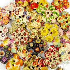 50/500pcs Multi-Colors Flower Shape Wood Buttons Lot 24MM Craft/kids Sewing DIY
