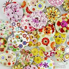 50/500pcs Mixed Colors Round Flower Wood Buttons Lot 25MM Craft/kids Sewing DIY