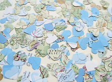 Confetti Map Atlas Hearts - Wedding Travel Table Decor - Heart Die Cut