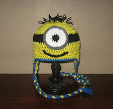 One-Eyed Minion Ear Flap Hat - Newborn to Adult Sizes - Hand-Crocheted