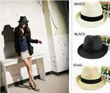 Fashion Men & Women Summer Panama Trilby Cuban Style Hat Straw Hats Fedora