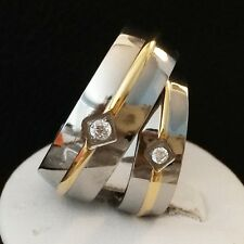 ENGAGEMENT WEDDING ANNIVERSARY HIS HERS MATCH RING SET GLD STRIP/ SOLID TITANIUM
