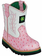 John Deere Johnny Popper Pink and White Infant Boots JD1171