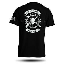 Honor The Fallen T-Shirt American Punisher Legend Sniper Army Military Men's Tee