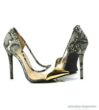 NEW WOMENS HIGH HEEL DESIGNER SNAKE BLACK WHITE GOLD CAP CLEAR TOE POINTY SHOES