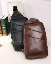 Fashion Men Genuine Leather Travel Messenger Shoulder Sling Back pack Chest Bag